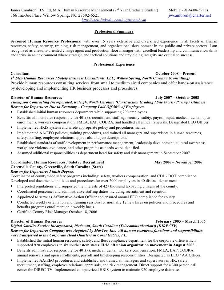 Hr Generalist Resume Template Professional Human Resources Resume