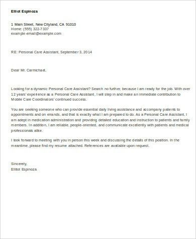 Cover Letter For Care Assistant Care Assistant Cv Template Job - personal assistant cover letter