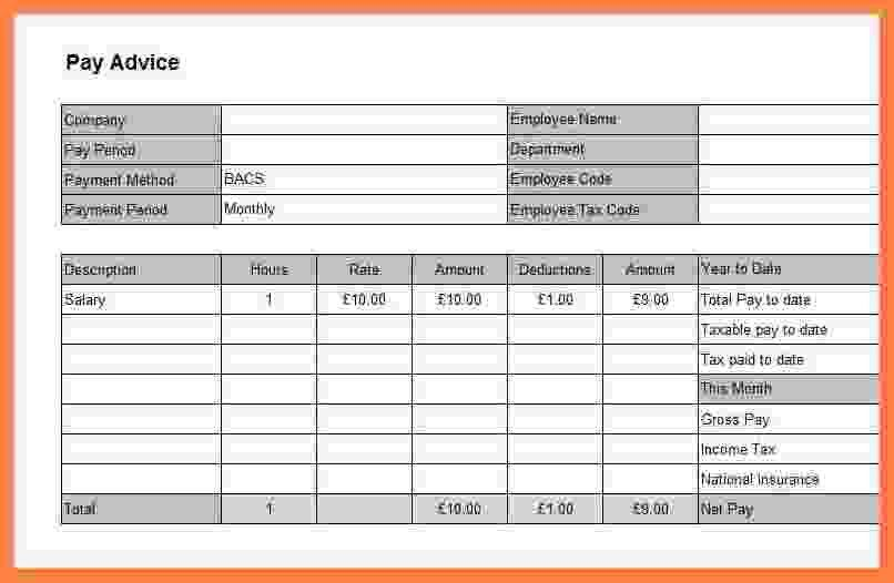 Payslip ...  Pay Advice Template