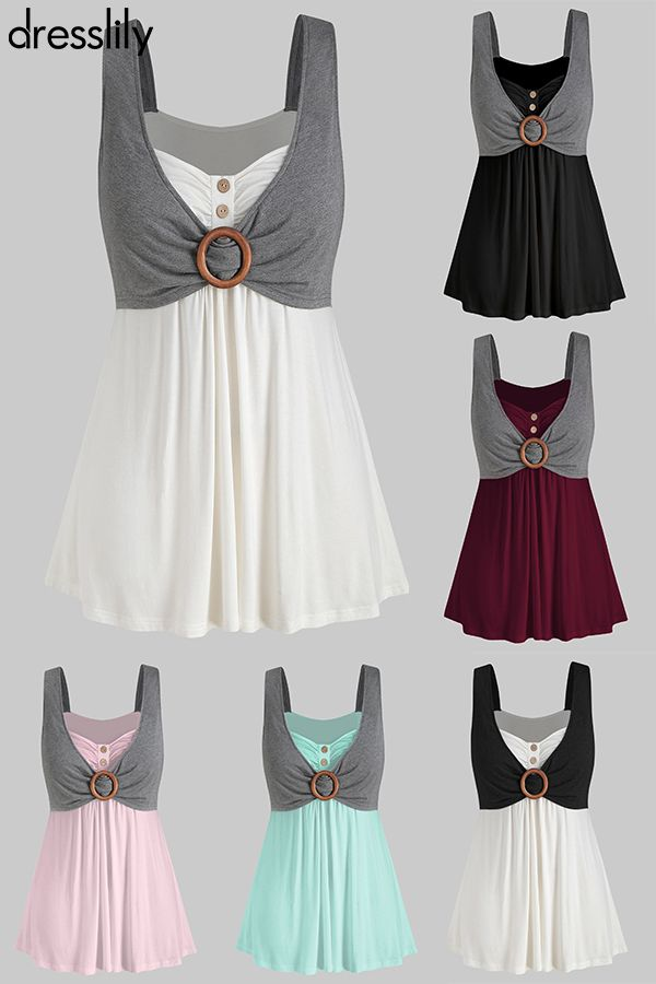 Button Two Tone Sweetheart Neck Tank Top