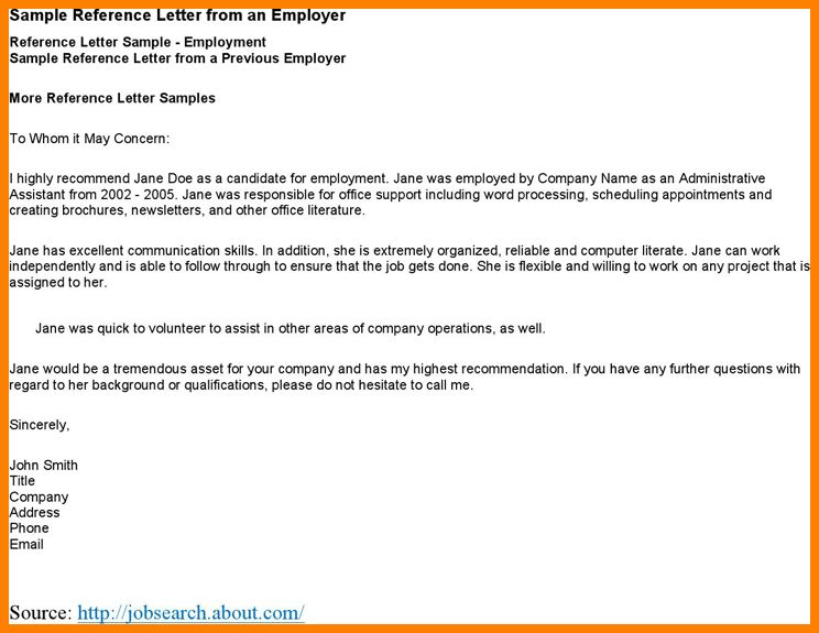 Referral Letter From Employer Letter Previous Employer, 26 - employer recommendation letter sample