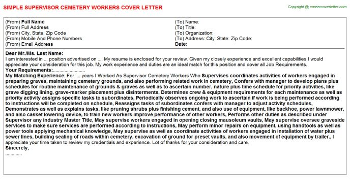 Cemetery manager cover letter