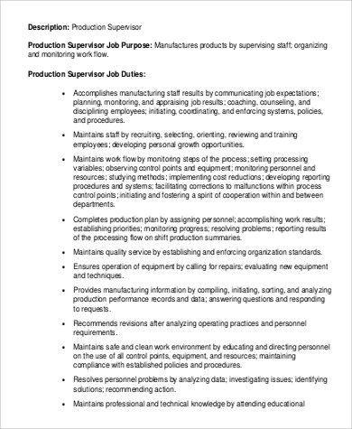 Operation Supervisor Job Description Operations Supervisor - production supervisor job description