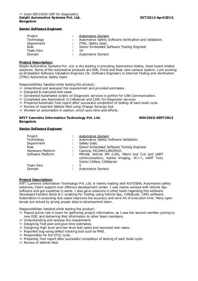 Senior Automation Engineer Sample Resume   Software Validation Engineer  Sample Resume  Validation Engineer Resume