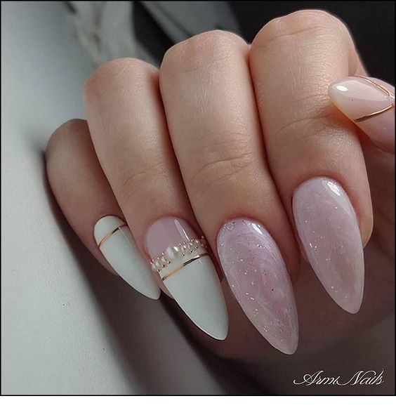 White nails with pink glitter and more