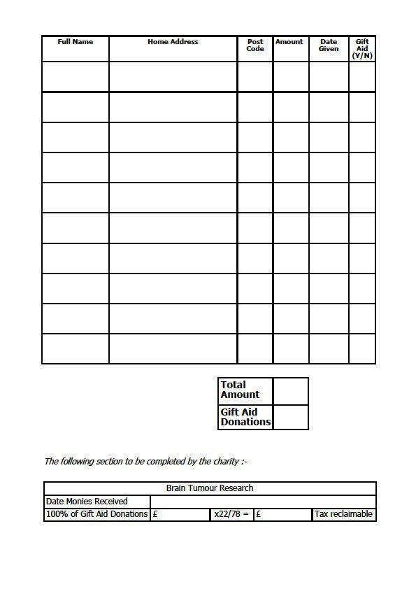 charity sponsor form – Blank Sponsorship Form
