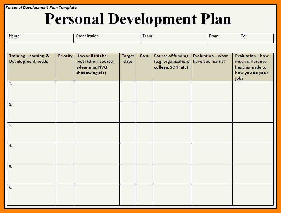 Sample personal development plan template 6 free sample - development plan templates
