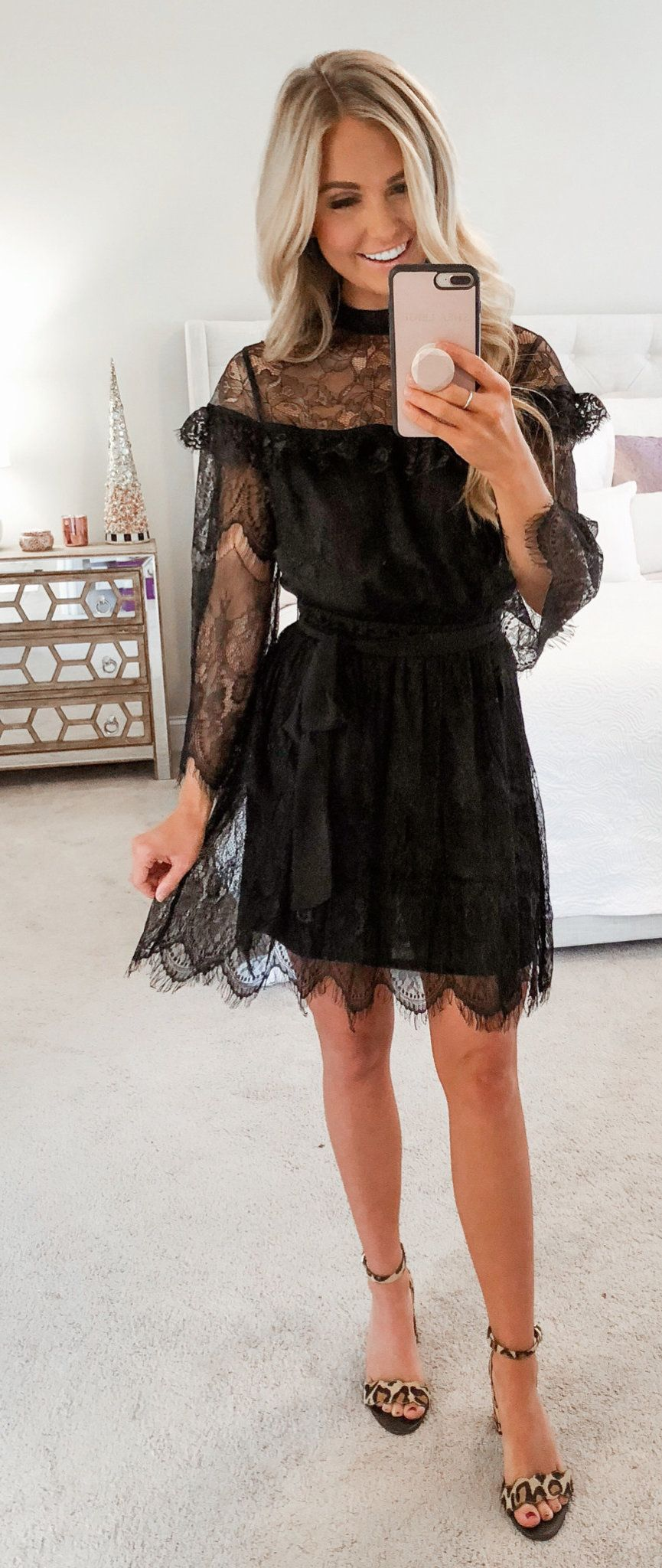 black long-sleeved dress
