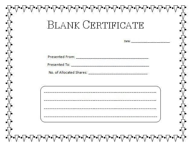 Blank Certificate Templates | Kiddo Shelter  Blank Certificate Forms