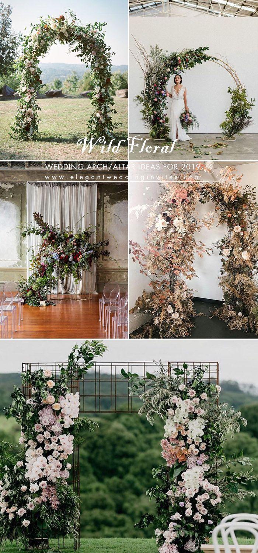 wild and undone floral greenery wedding arch decoration ideas