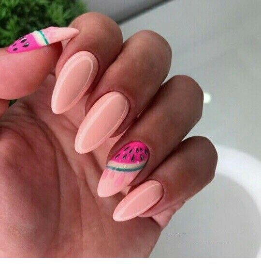 Nice light pink nails with a summer print