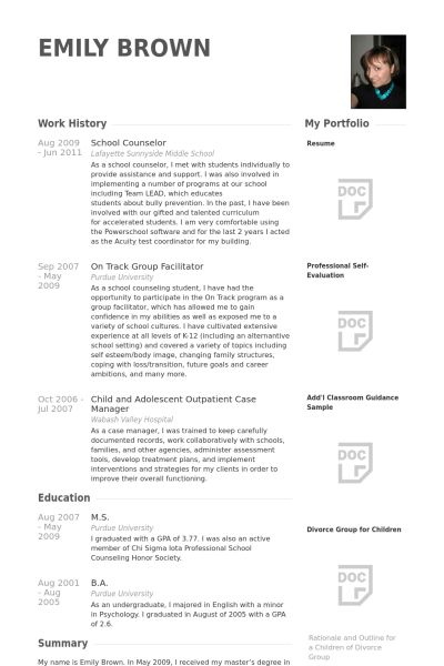 Sample Resume For Counselor School Counselor Resume Sample