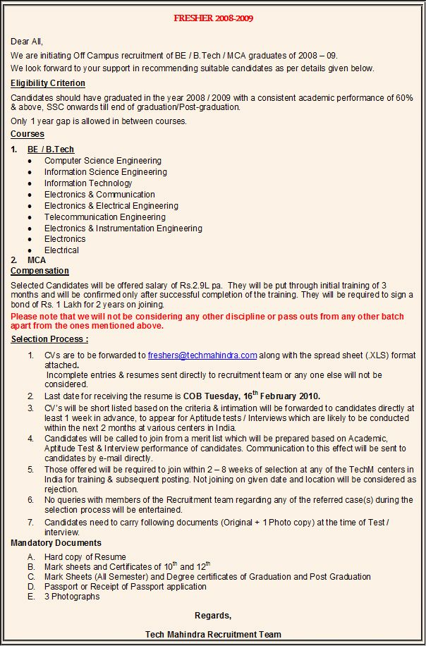 mca resume format for freshers fresher doc 1 - Mca Resume Format For Freshers