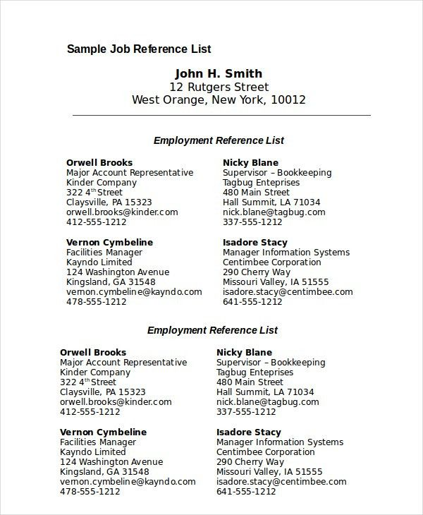 sample reference list for resume listing references on