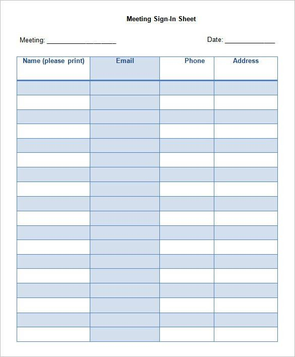 Sign In Sheet For Doctors Office Templates Printable Sign In - blank sign in sheet