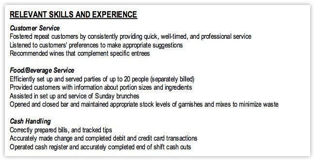resume relevant skills