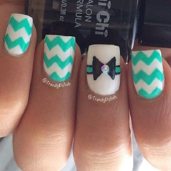 You can put the pattern on all your nails but it would be best if you can at least take the focus on an accent so it won't be too much to look at. For example, the ring finger here is designed with a diamond and bow.