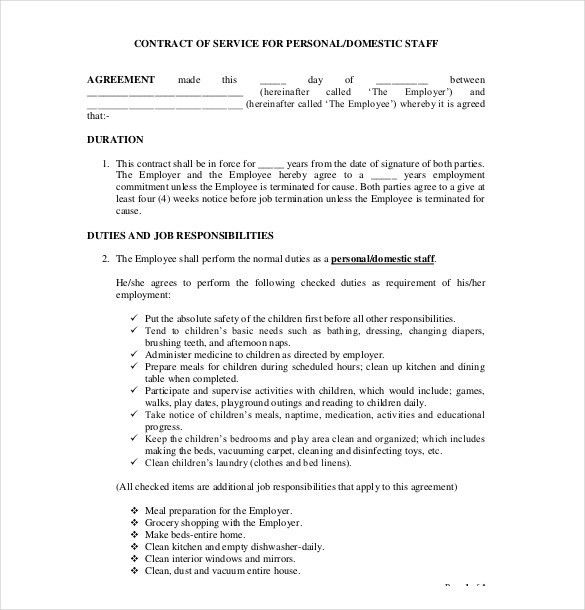 Cleaning Services Contract Template Cleaning Contract Template 27 - job agreement contract