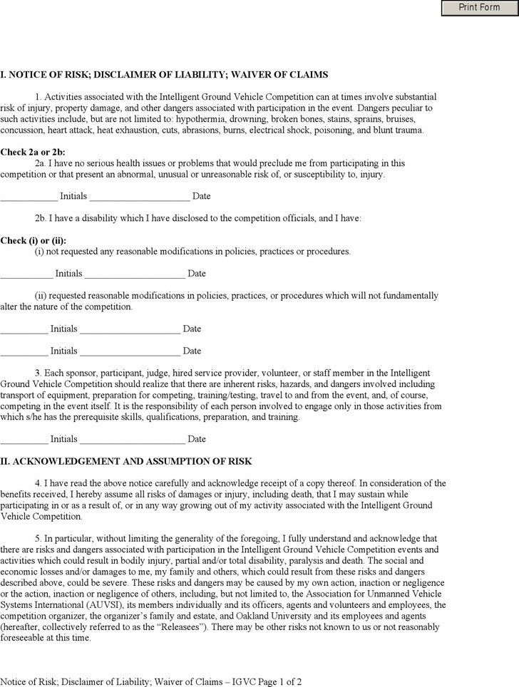 Generic Liability Waiver And Release Form Printable Sample - vehicle release form