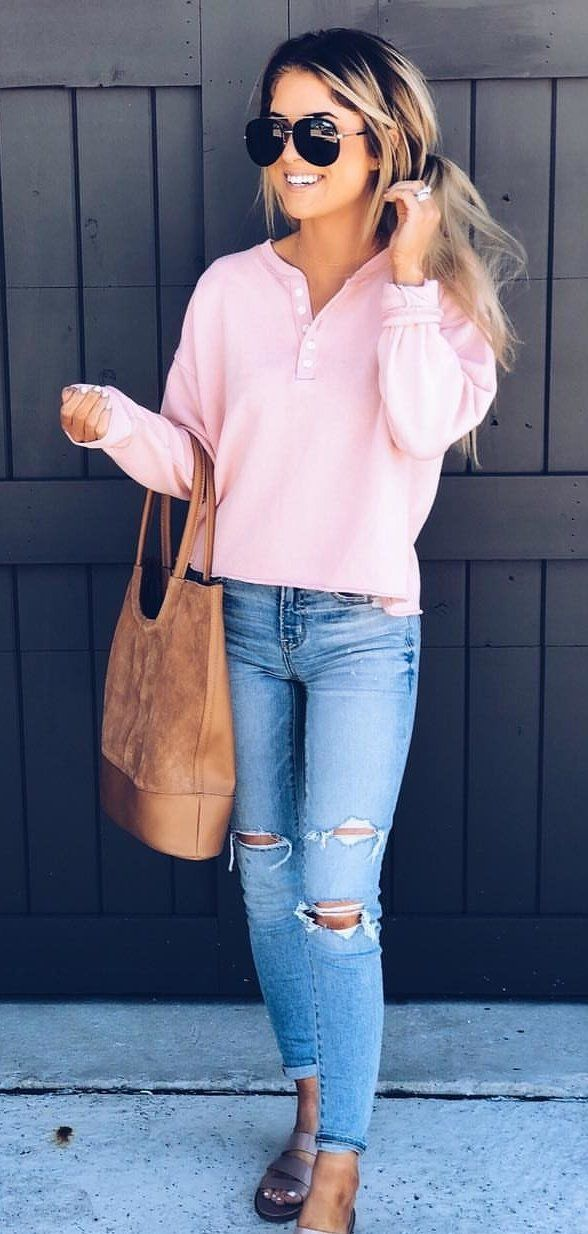 pink long sleeve shirt #spring #outfits