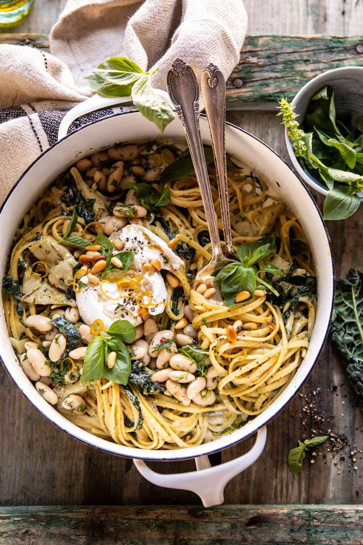One Pot Creamy Tuscan Pesto and Artichoke Pasta.