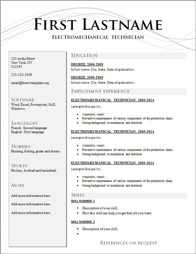 standard resume layout - Apmayssconstruction