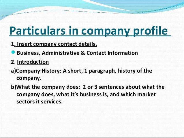 Business Profile Format In Word Sample Business Profile 5 - business profile template