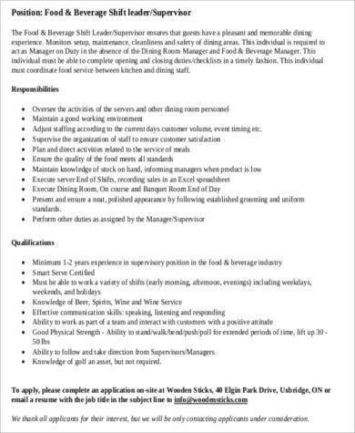 Food And Beverage Manager Job Description Pdf  FoodfashCo