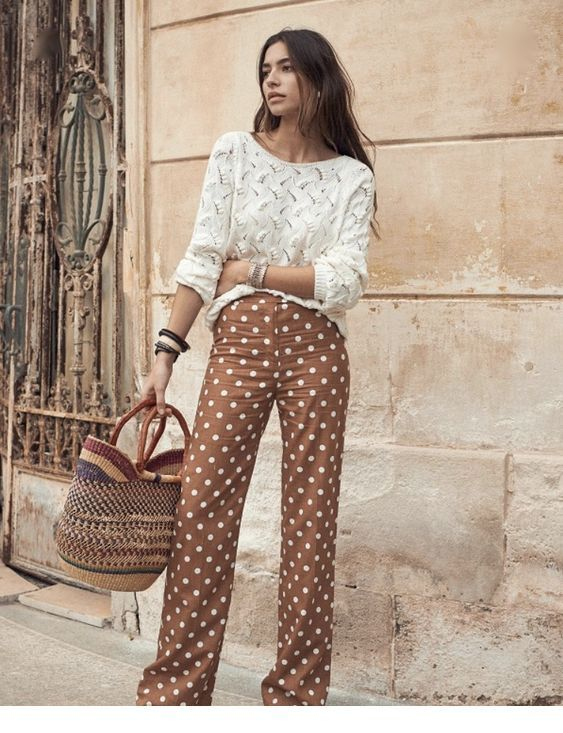 Cute white sweater and brown pants with polka dots