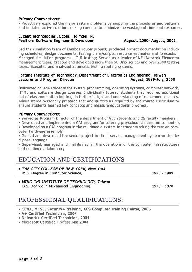 Sample Resume For An It Professional Resume Sample For An It - director of it resume