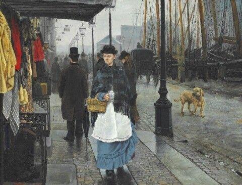 L. A. Ring 1884 Gadeparti fra Nyhavn. Venstre side set fra Kongens Nytorv 49x63cm