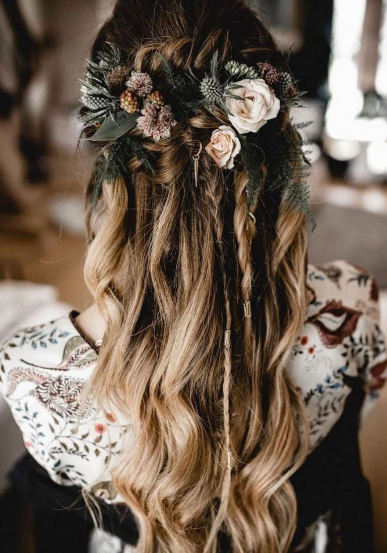 loose braided wedding hairstyles for long hair brides