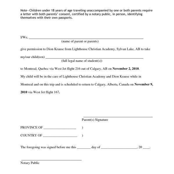 Parental Permission Letter Parent Letter Template 10 Free Word - travel consent form sample