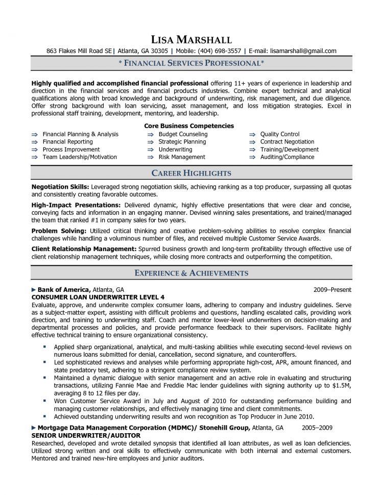 Underwriter Resume Examples Examples Of Resumes