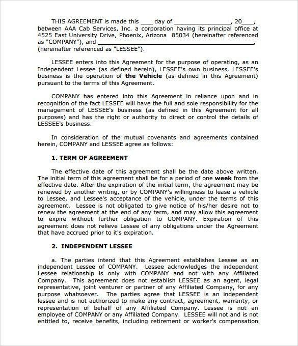 Rent To Own Document Free Download Rent To Own Contract - sample vehicle lease agreement