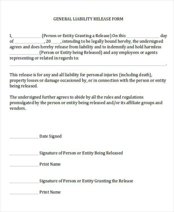 general liability release form | template.billybullock.us