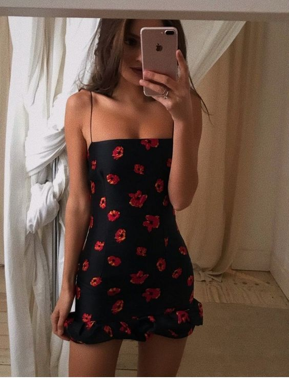 Red flowers, black dress