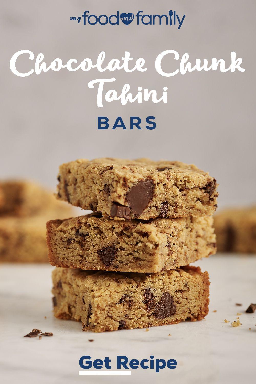 Chocolate Chunk-Tahini Bars