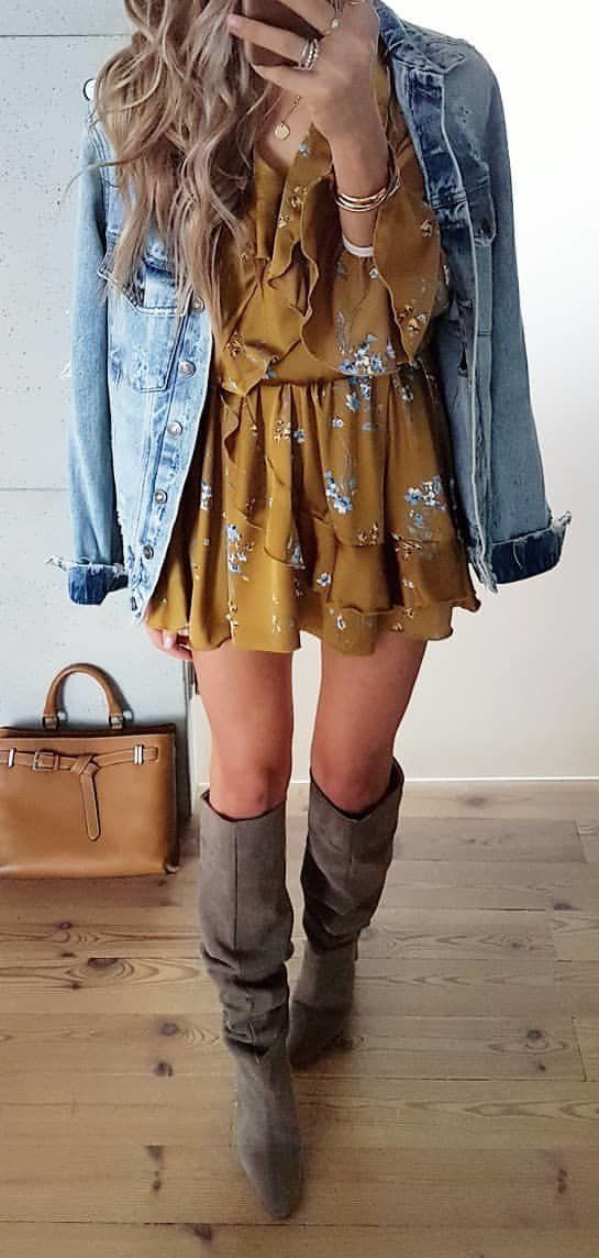 brown and white floral dress #spring #outfits
