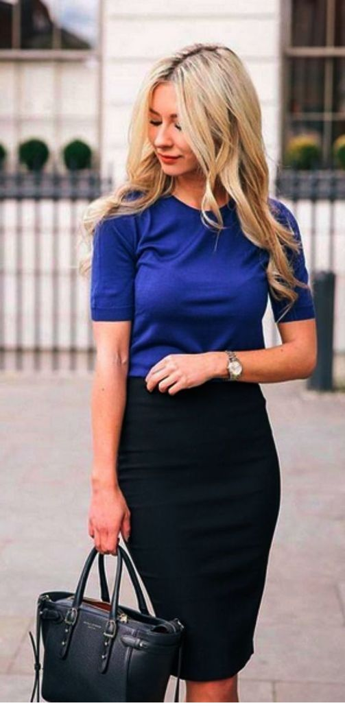 Blue top and black skirt