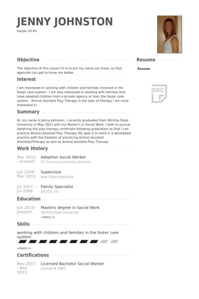 resume for social workers