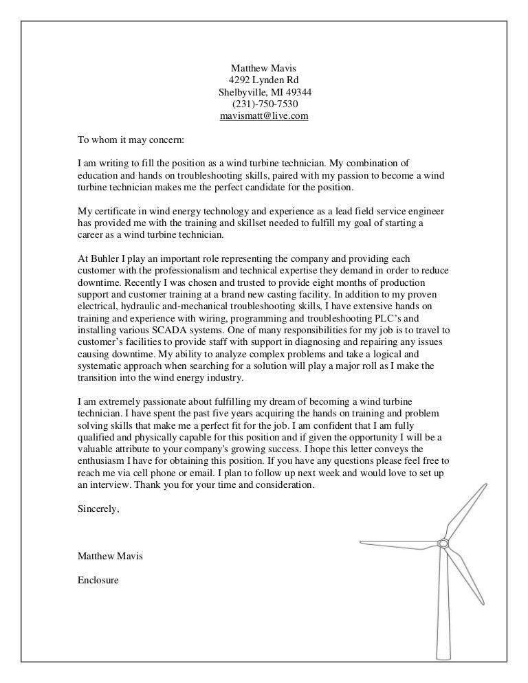 mechanical technician cover letter