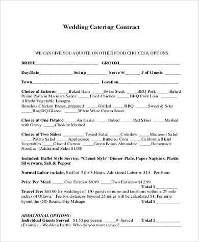 Wedding Catering Contract Sample 6 Catering Contract Templates - catering contract template