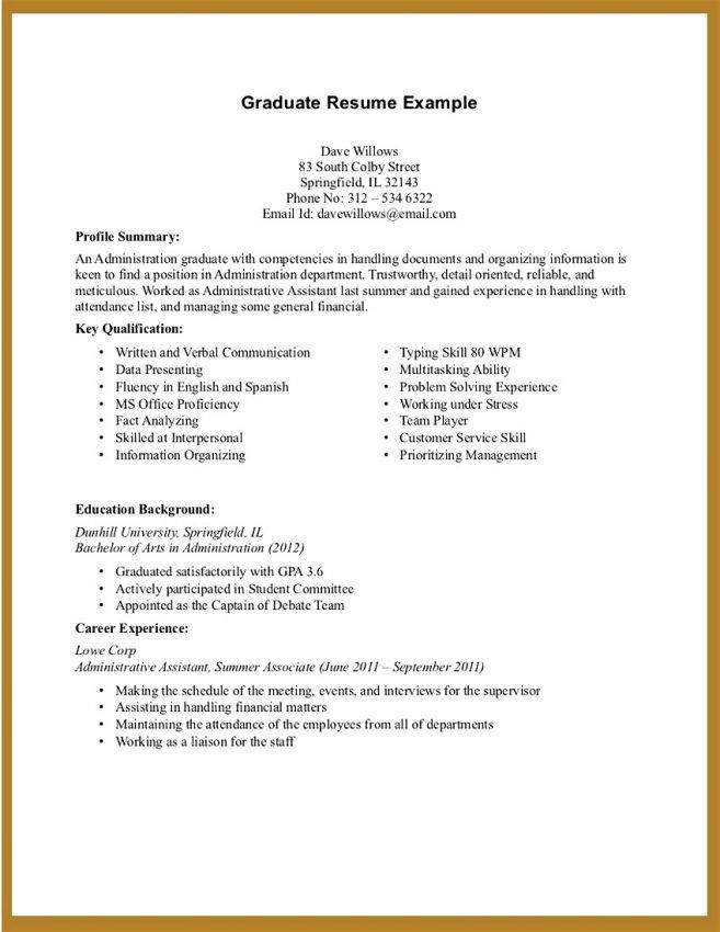 Resume Examples No Experience Student Resume Examples Graduates