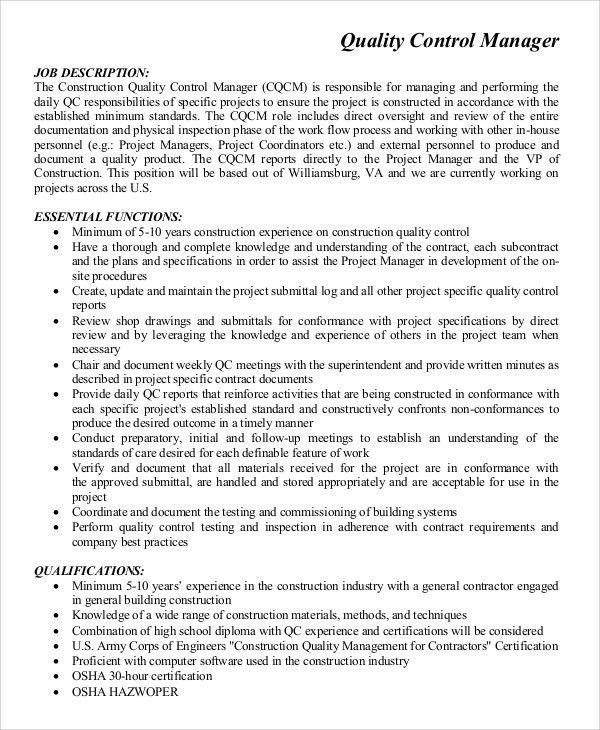 Contractor Job Description Contractor Job Description Sample 10 - quality control job description