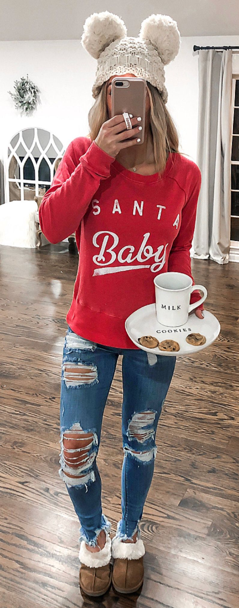 red Santa Baby-printed sweater