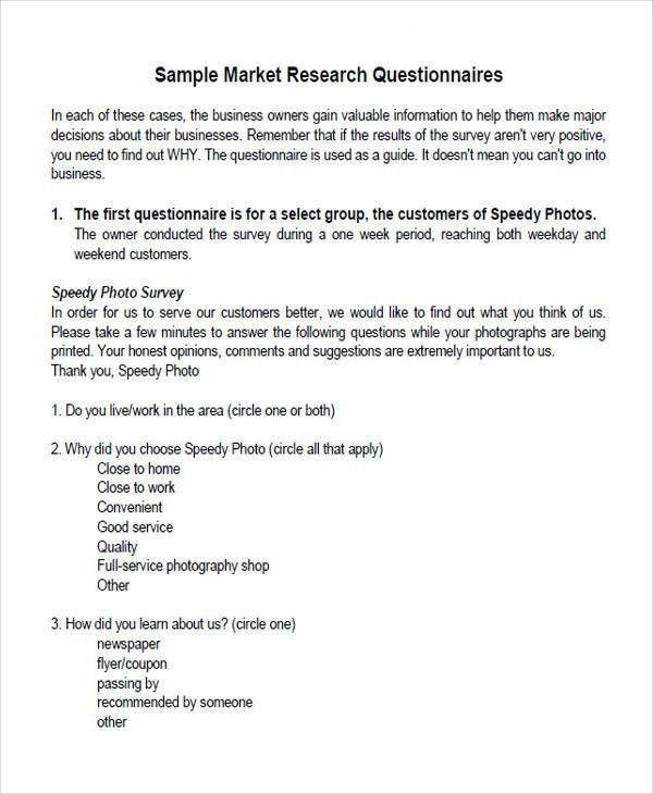 Printable Survey Forms 30+ questionnaire templates (word - survey form template