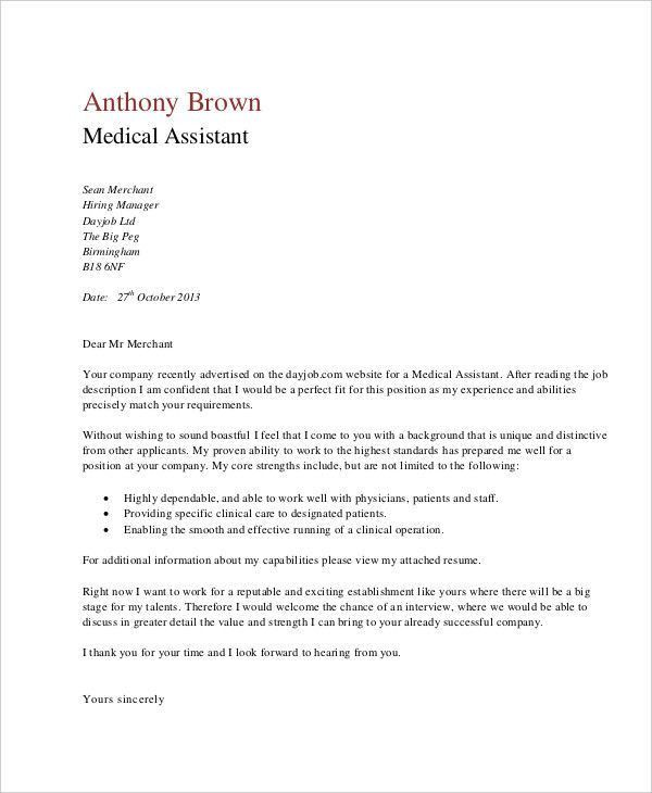 Example Of Cover Letter For Medical Assistant Medical Assistant - medical assistant thank you letter