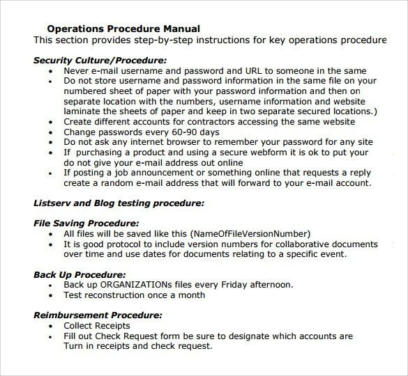 ... Operations Manual Template Free Sample Operations Manual Template    Procedure Manual Template Free ...