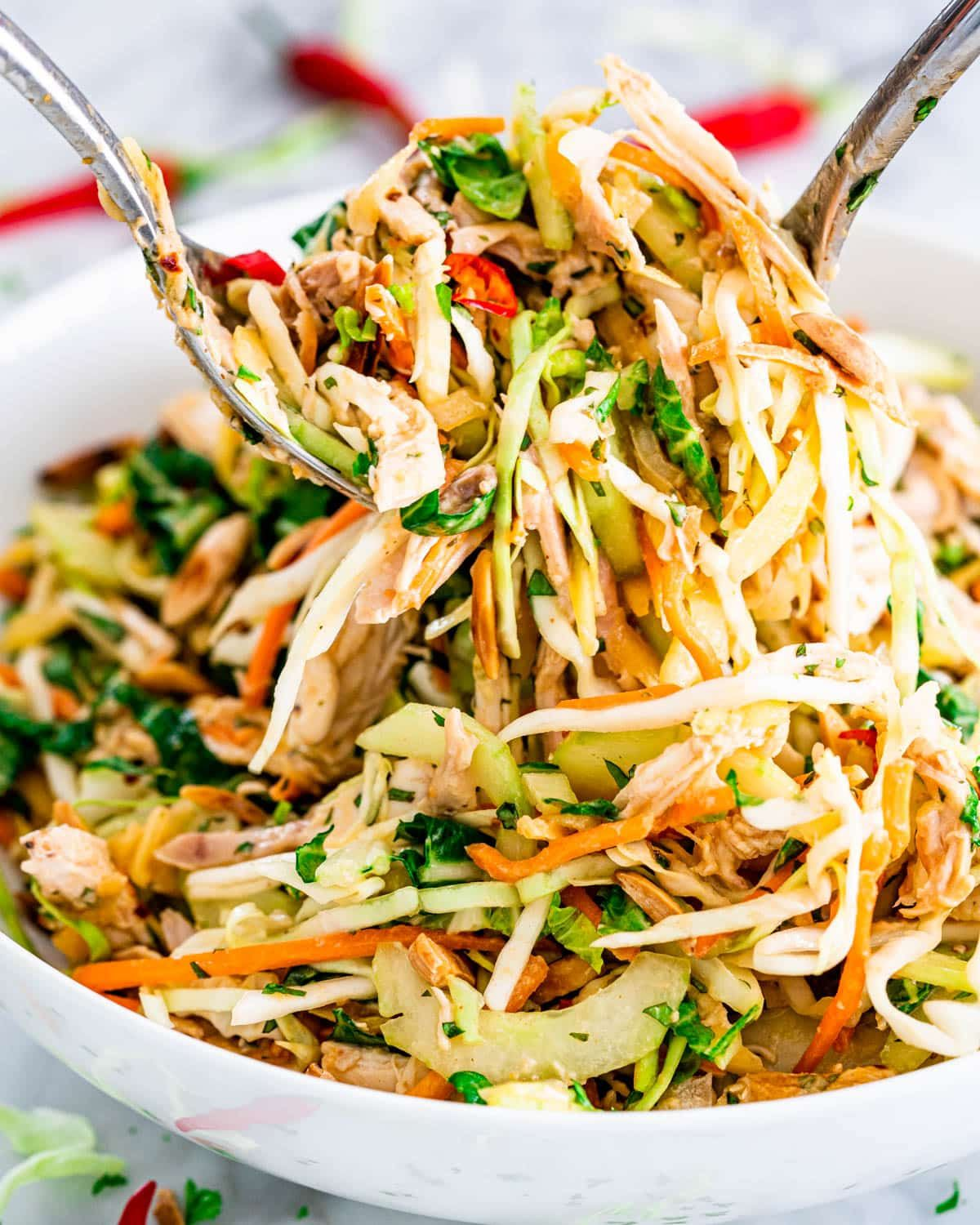 This is the best Thai Chicken Salad recipe! Featuring papaya, cabbage, carrots, cucumber and a spicy peanut dressing, you can enjoy this amazing salad all on its own as a filling and healthy meal. #thai #chickensalad